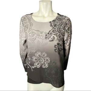Desigual Black and Grey Floral Blouse Size Large